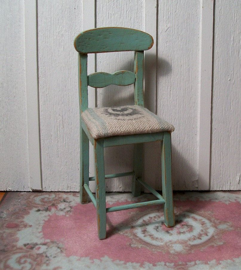 "Dollhouse Miniature 1:12 Scale - Adorable Shabby, chic, French cottage bar stool with ""grain sack"" seat."