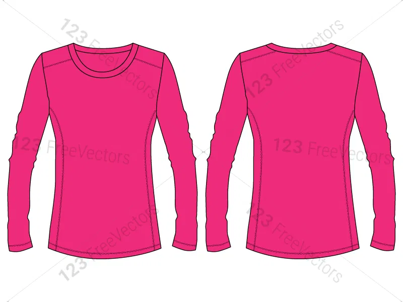 Download Women S Long Sleeve T Shirt Template Vector And Psd Pack 01 Shirt Template Long Sleeve Sleeves