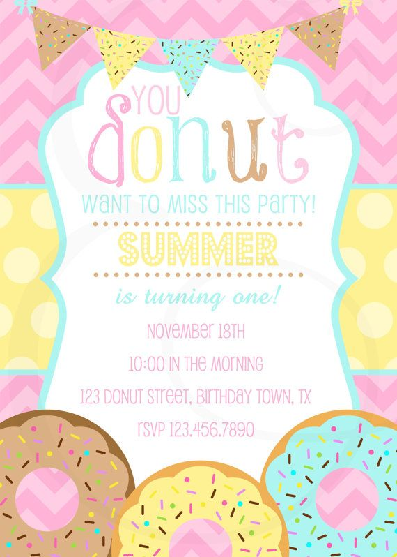 Girly Donut Birthday Party Invitation By EmmyJosParties On Etsy 1200