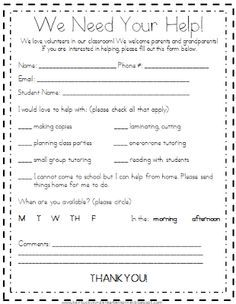Home room mom on Pinterest | Room Mom, Parent Volunteer Form and ...