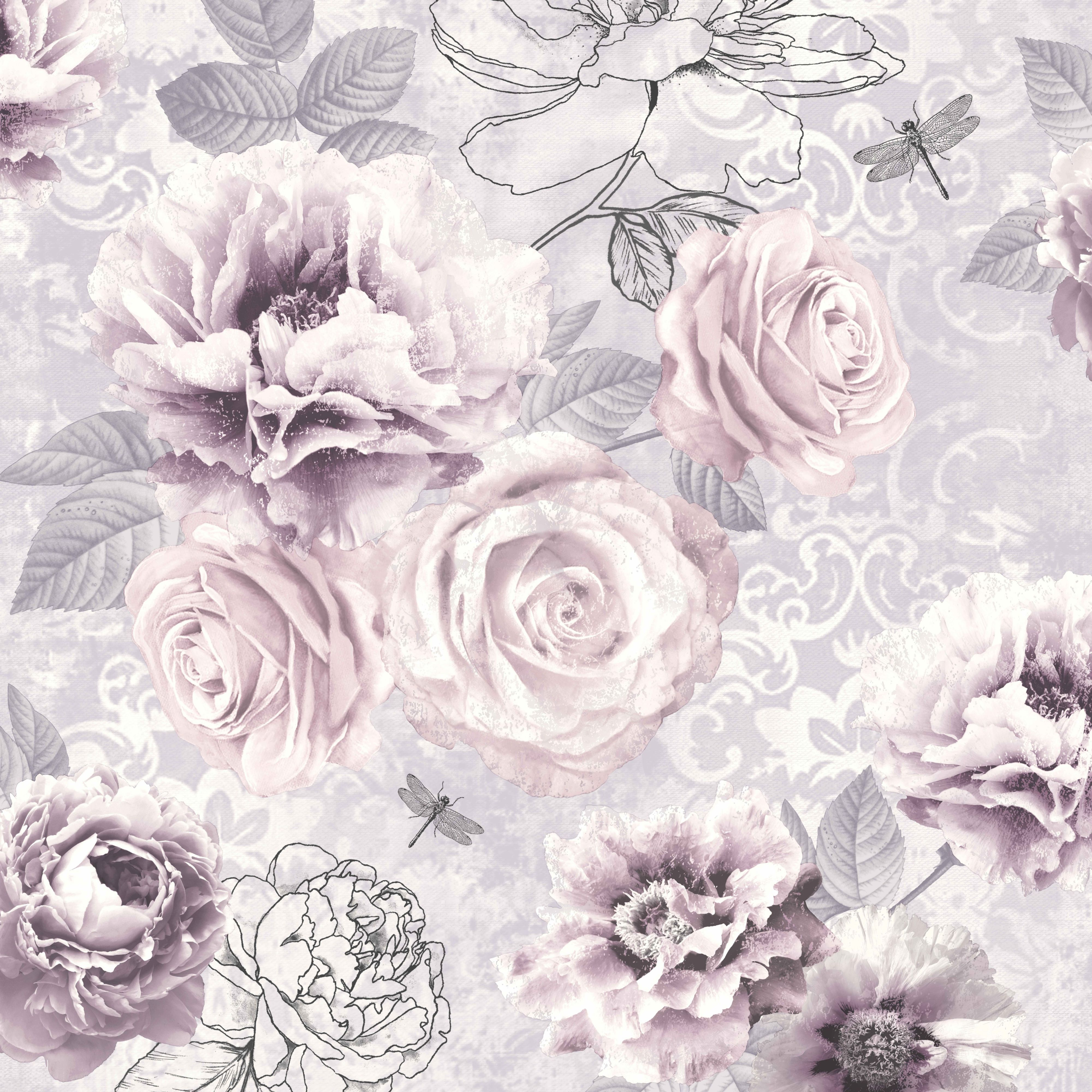 Graham brown fresco pink purple grey floral wallpaper for Pink and grey bedroom wallpaper