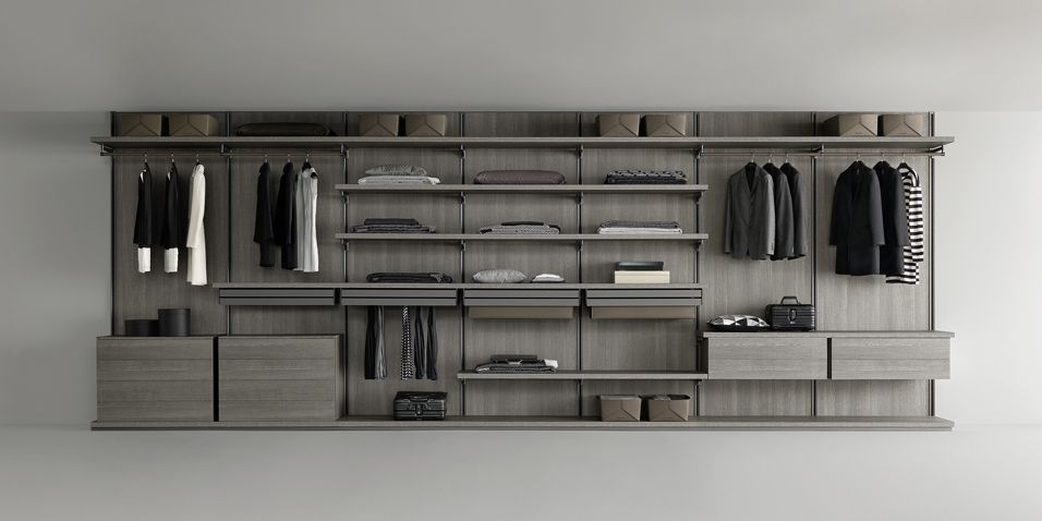 Piombo Lacquered Structure, Back Panels, Floor Base, Shelves And Units In  Grey Oak