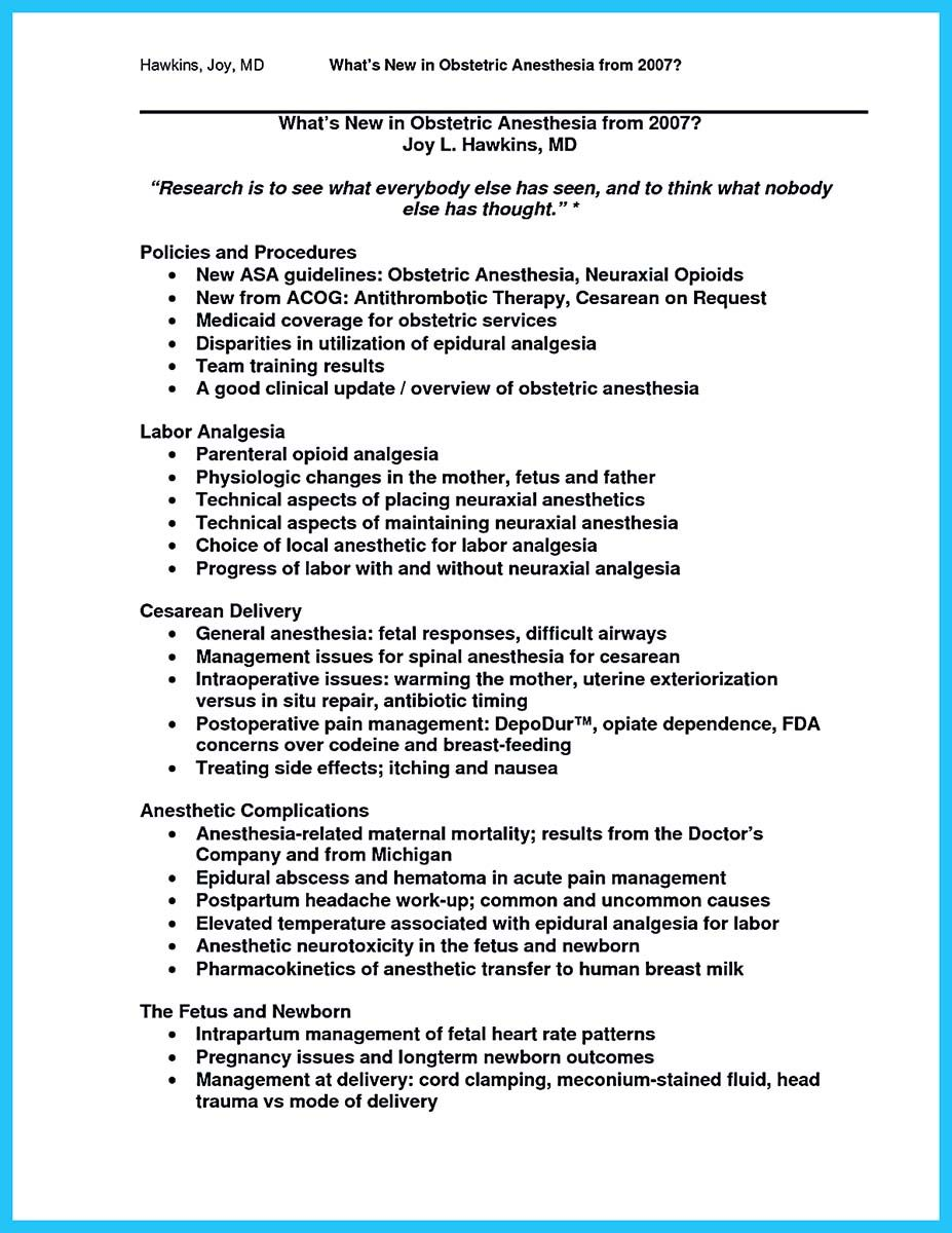 crna resume objective template example nurse anesthetist free ...