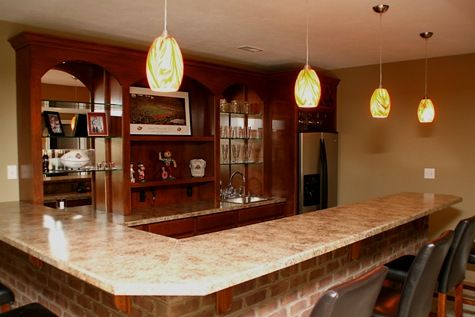 Luxury Home Noblesville: Family Room, Custom Built Wet Bar, Brick Face,