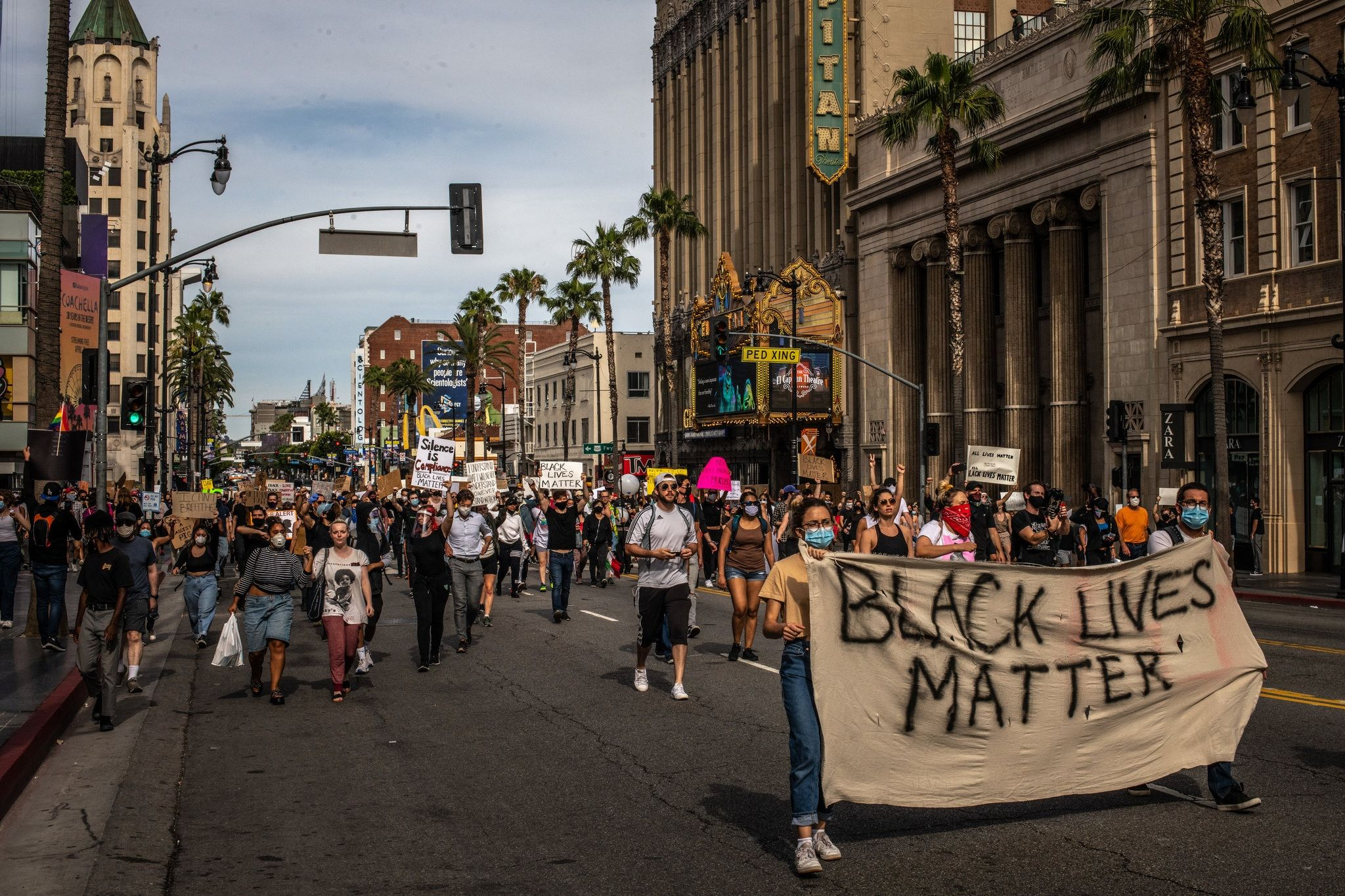 In Photos Protesters March In Cities Across America New York Times News Hollywood Location Santa Monica Promenade