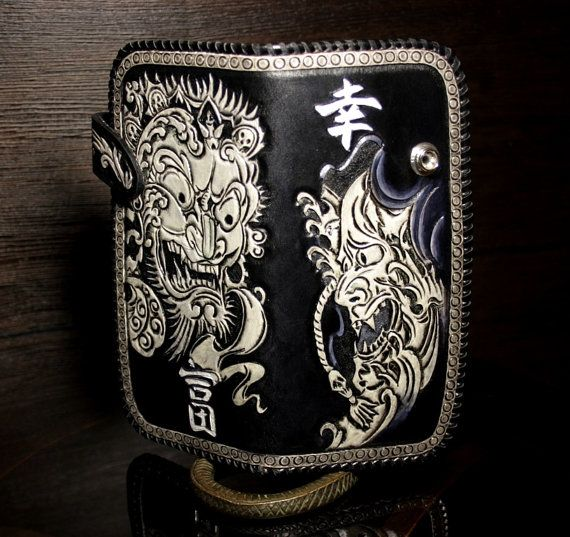 012310dcc02e Hand-tooled leather biker wallet in Japanese style, tooled wallet ...
