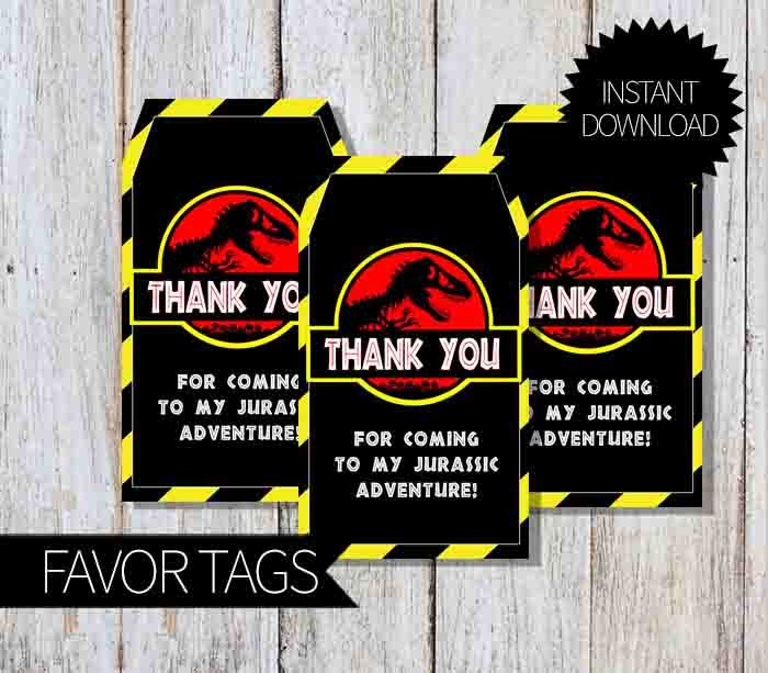 Jurassic Park Birthday Party Printable Favor Tags Instant