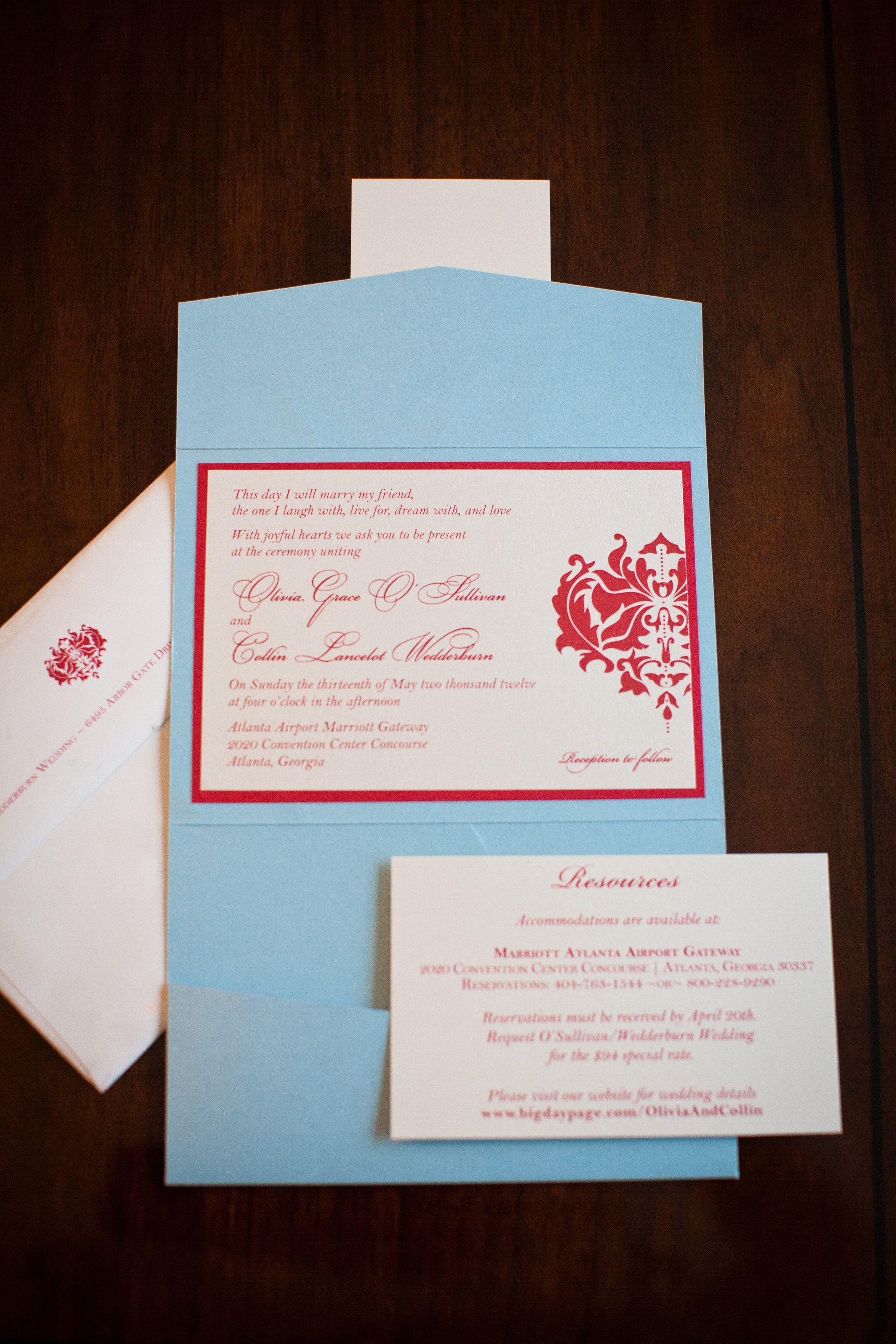 Red and Aqua Wedding Invitation | Idyllic Fete Weddings | Pinterest ...