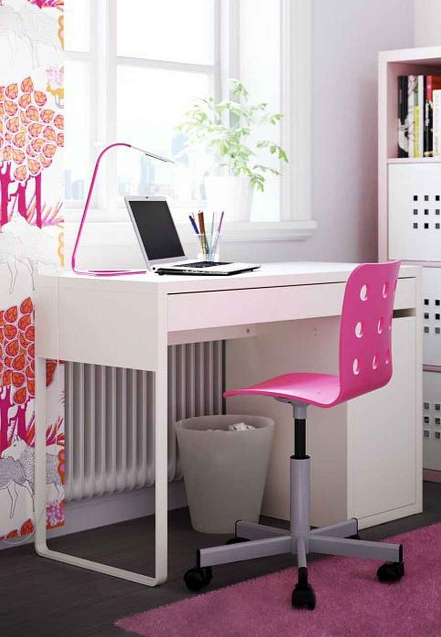 IKEA MICKE Computer Desk White for Home Office with Pink