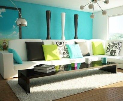 das-zuhause-gemütlich-einrichten-türkis-wand-bodenvasen-sofa - wohnzimmer gemutlich einrichten