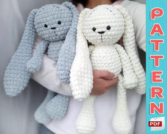 CROCHET PATTERN Large Bunny Plush - Amigurumi Pattern PDF - Big Stuffed Rabbit #bunnyplush