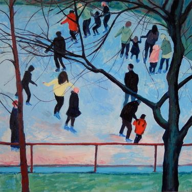 "Saatchi Art Artist Stephen Howard Harrison; Painting, ""Seventeen Edinburgh Skaters"" #art"