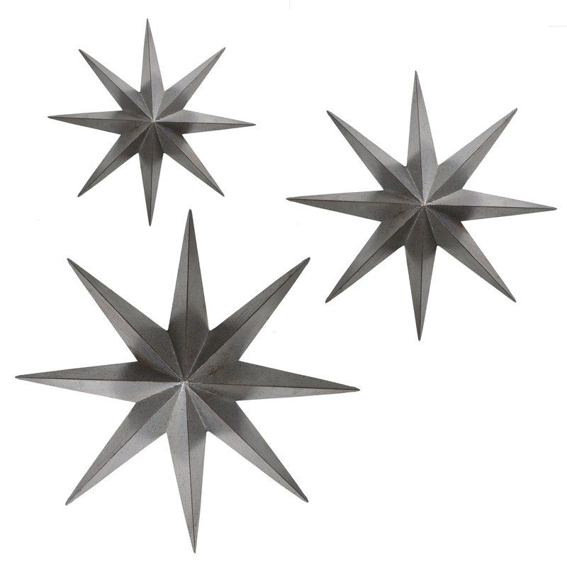 3 Piece Metal Stars Wall Decor Set Outdoor Wall Decor Stars