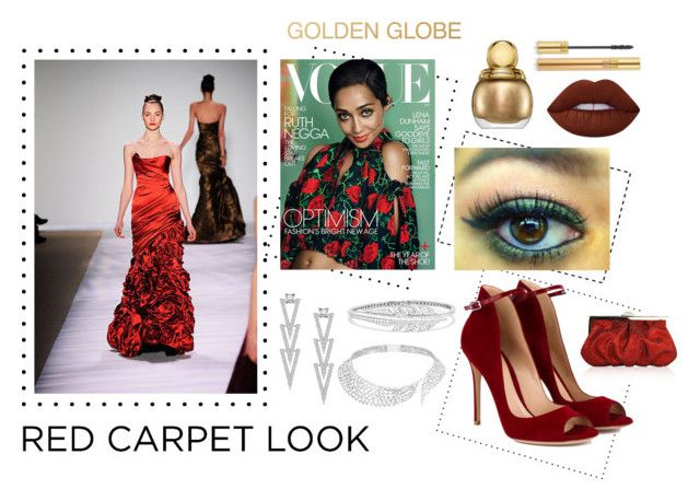 """""""Ruth Negga at the Golden Globes"""" by divinatas ❤ liked on Polyvore featuring Monique Lhuillier, Swarovski, Stephen Webster, Messika, Gianvito Rossi, Christian Dior, Lime Crime, Yves Saint Laurent, Judith Leiber and GoldenGlobes"""