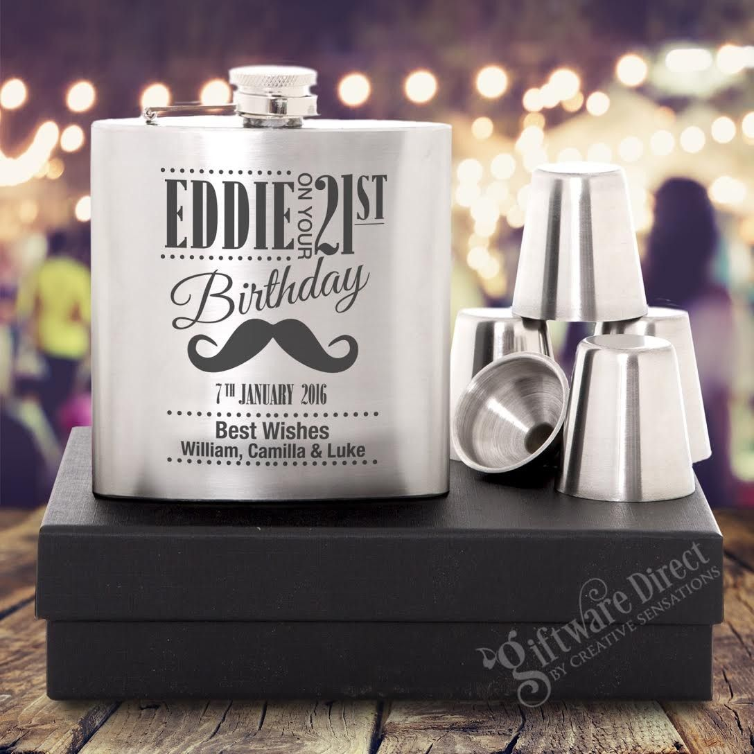 Personalised engraved silver hip flask set birthday