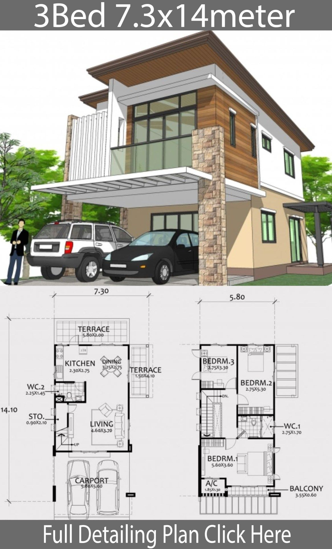 Modern Style Two Story House Plan 7 3x14m Home Design With Plansearch Narrow House Plans Two Story House Plans House Blueprints