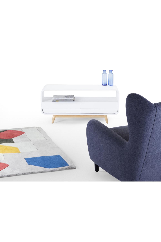 Esme kompaktes Lowboard, Esche und Weiß