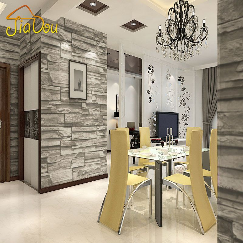 Chinese Style Dining Room Wallpaper Modern 3d Stone Brick