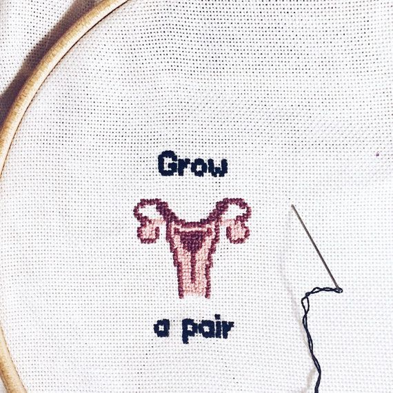 tiny cross stitch grow a pair finished product decoration feminist ...