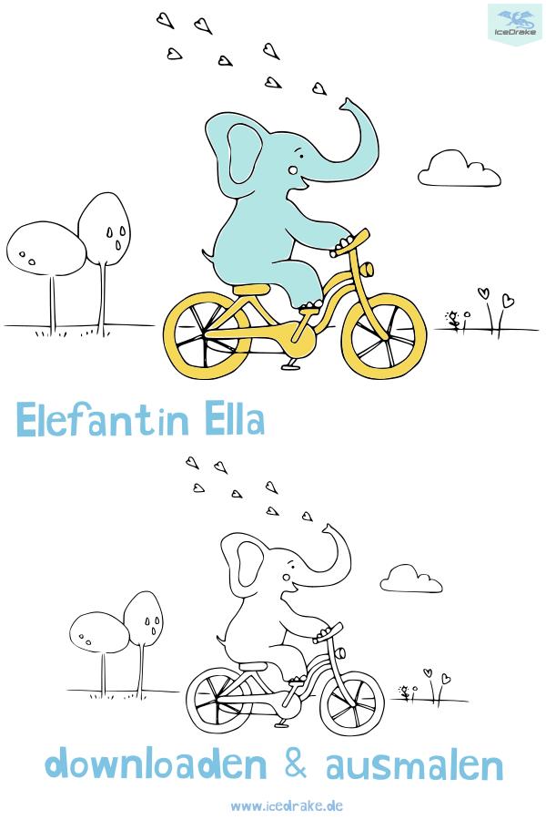 Ausmalbild Elefant Ella Ausmalen Ausmalbilder Und Kinder