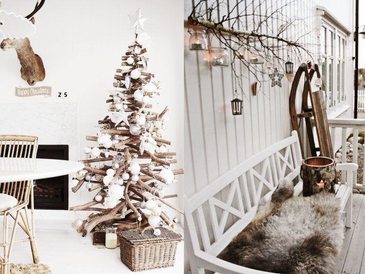 Skandinavische-weihnachtsdeko-selber-machen-holz-ideen-christbaum - wohnung dekorieren selber machen