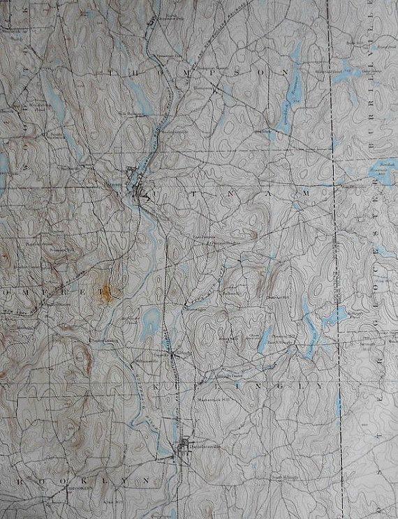 Topographic Map Ct.1893 Large Original Antique Map Putnam Thompson Pomfret