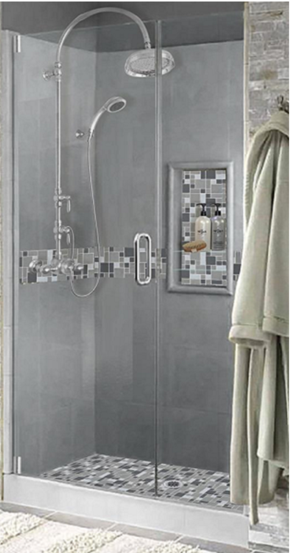 Cement And Gl Mosaic Shower Kit From 1 267 Easy To Install