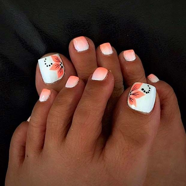 Ombre Toe Nail Design With Flowers Pedicureideas Uas De Pies