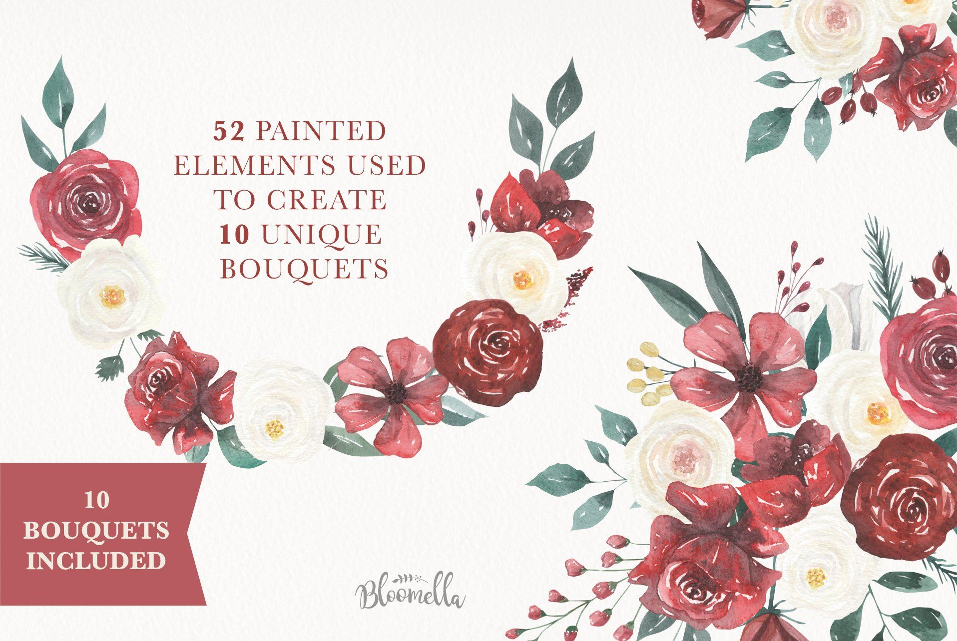 Watercolour Claret Deep Red Flowers Watercolor Packaging