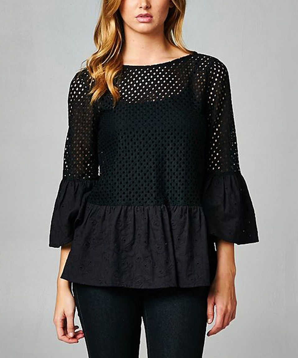 Another great find on #zulily! Esley Collection Black Pin Hole Bell-Sleeve Top by Esley Collection #zulilyfinds