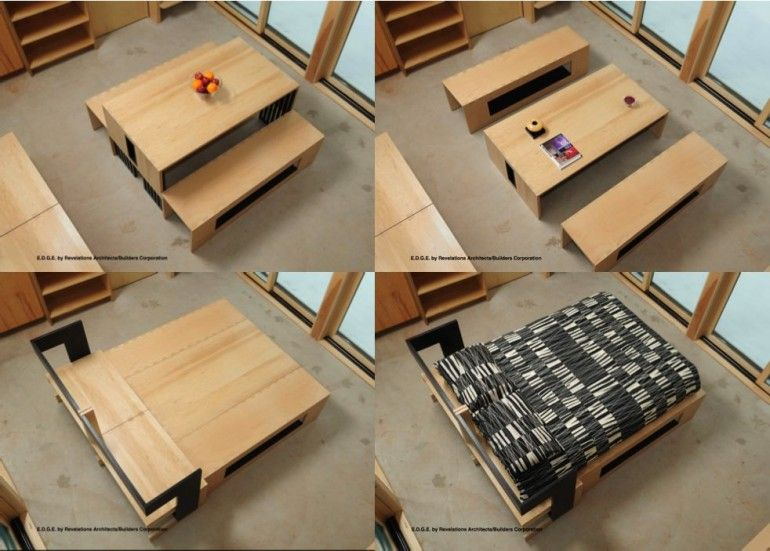 The EDGE Tiny Cabin   Dining Table That Converts Into Sofa/lounger