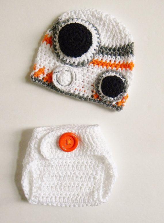 Star Wars Baby BB-8 Droid Sphero Sci-Fi Crochet Hat & Diaper Cover ...