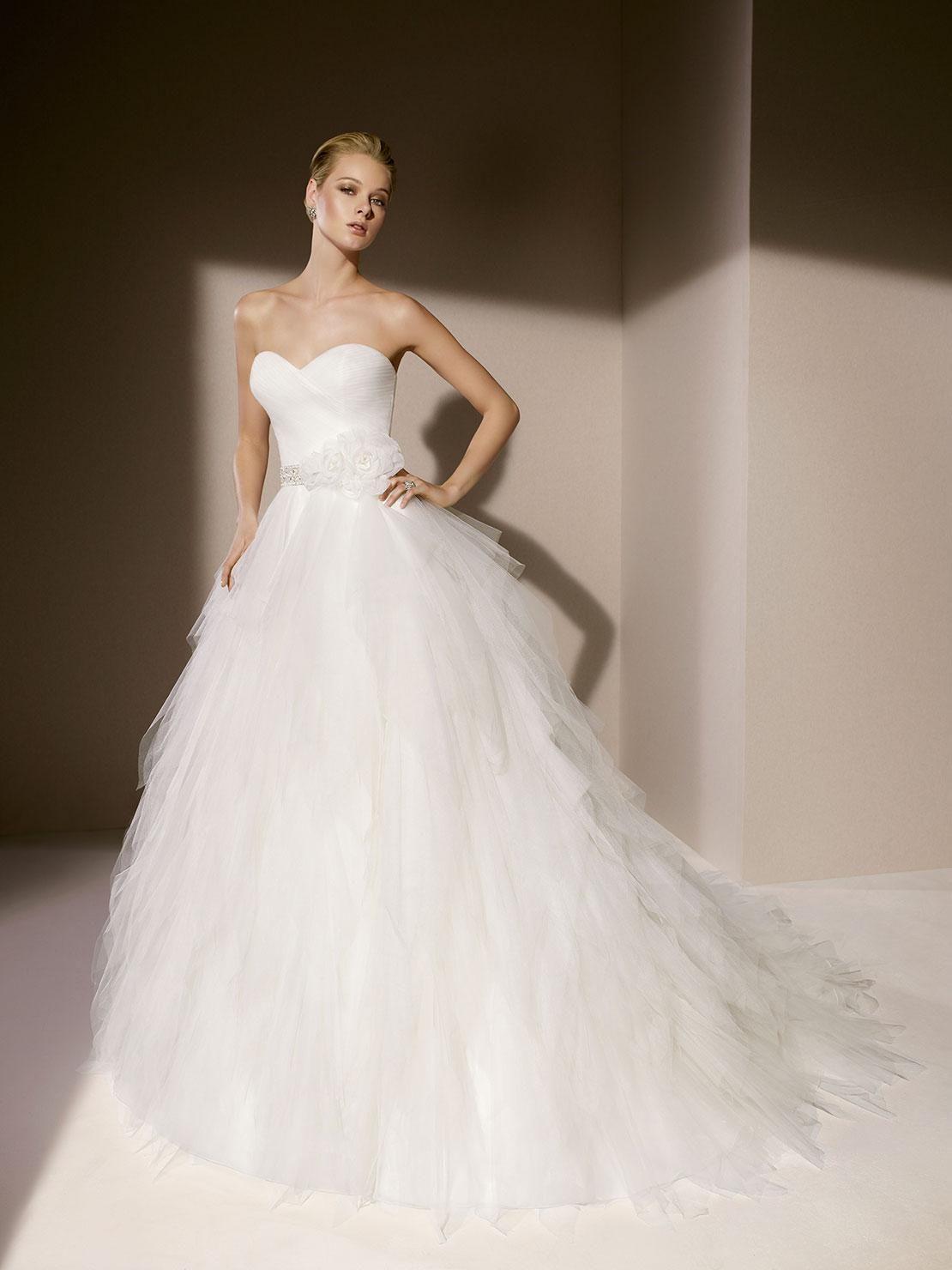 Elegant wedding dresses for mature brides   Wedding Gowns Sweetheart Neckline Ruffle Crystal Sash Handmade