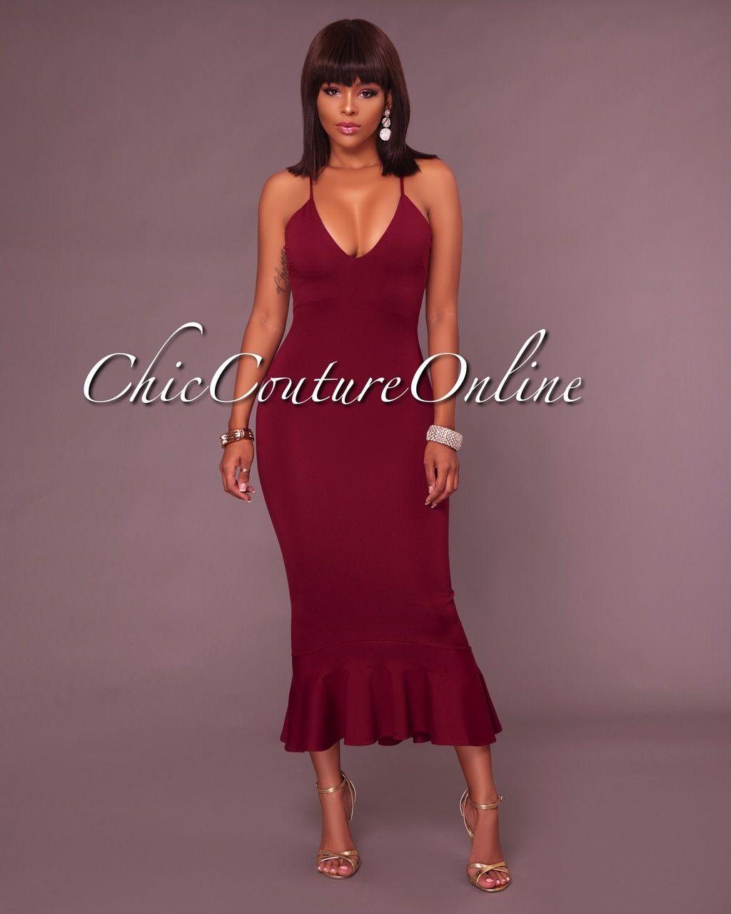 Carmel Burgundy Red Fitted Ruffle Dress