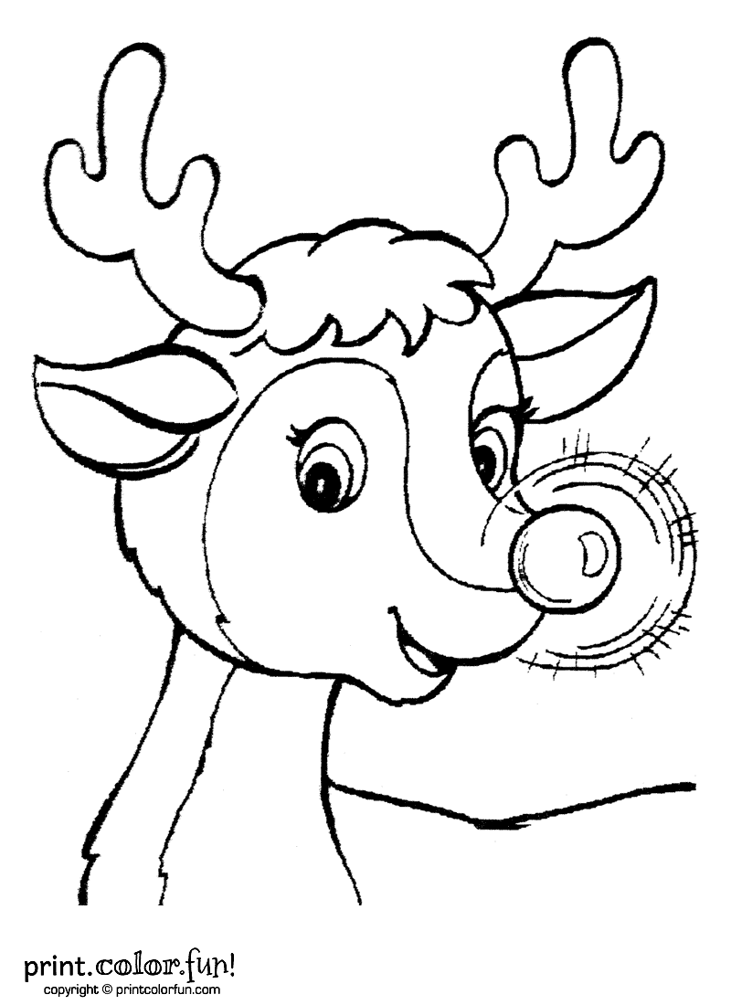 Here Is Santa S Lead Reindeer Rudolph All Ready To Pull Santa S Sle Kids Christmas Coloring Pages Christmas Coloring Pages Printable Christmas Coloring Pages