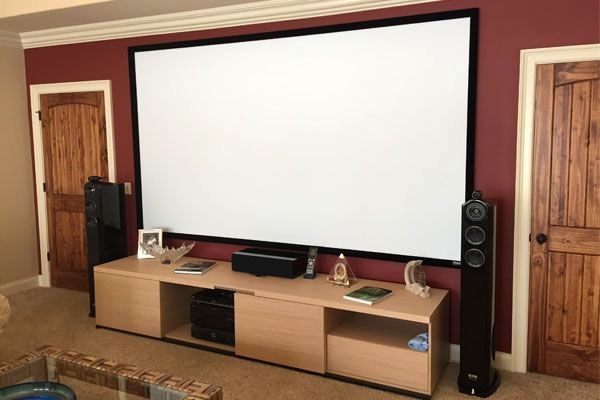 This Media Room Doubles As A Home Theater Completed With Sony Hd Projector And 133