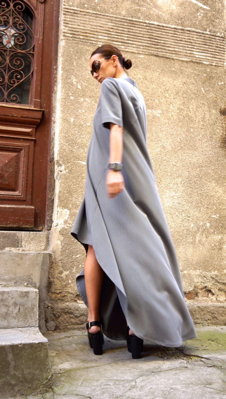 Etsy new collection maxi dress grey asymmetrical kaftan