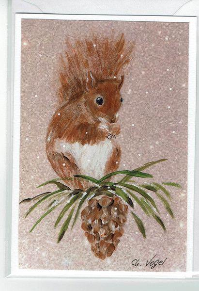 Grüße - Grußkarte - Eichhörnchen, RESERVIERT ! - ein Designerstück von Vogelmalerin bei DaWanda