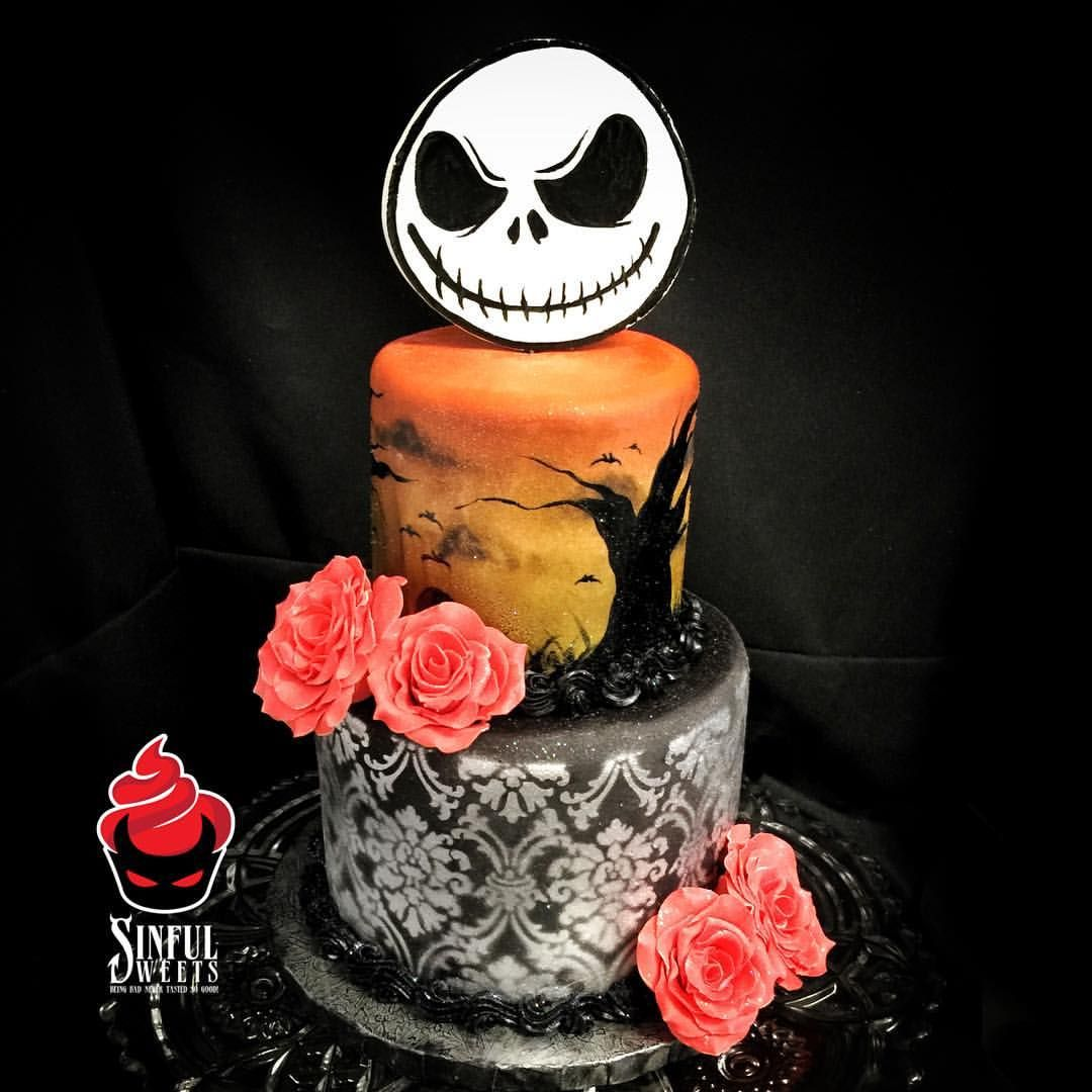 We call this style #spooky #chic! Right up our alley! Happy 50th!   #nightmarebeforechristmas #jackskellington #sunset #spooky #graveyard #damask #metallic #red #rose #custom #cake #cakery #parkave