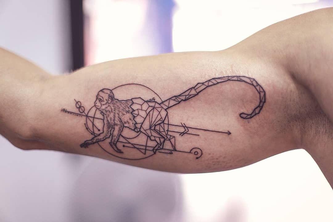 Geometric Monkey Tattoo Monkey Tattoos Tattoos For Guys Tattoos