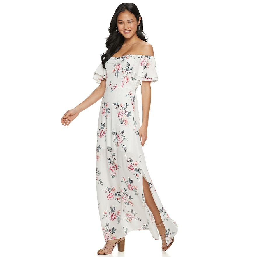 023880113459 Juniors  Three Pink Hearts Maxi Dress