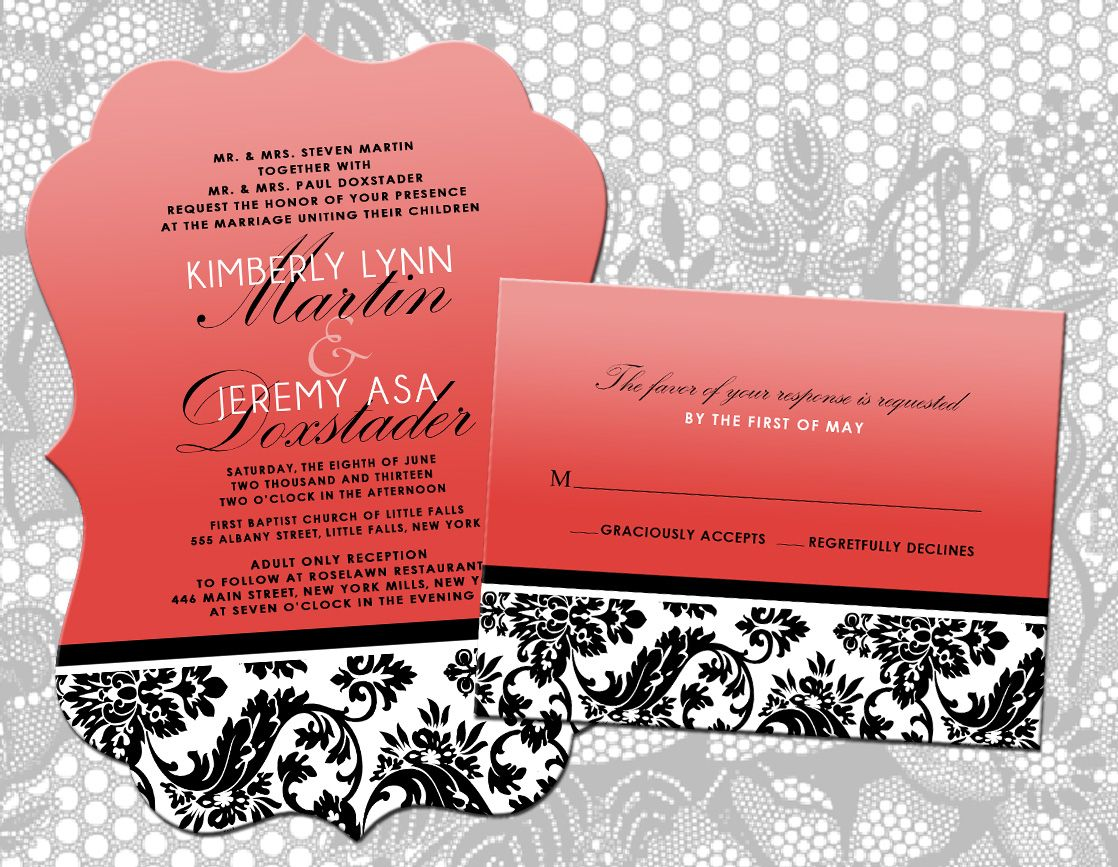 Dicut Coral, Black and White Wedding Invitation with matching RSVP ...