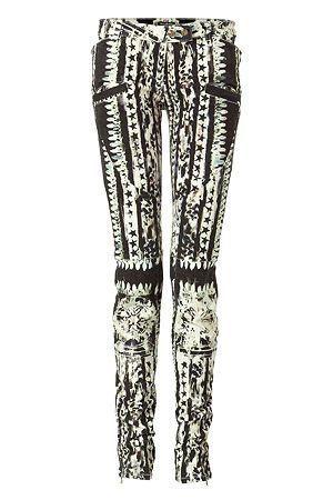 Gone Tribal Black And White Pants Balmain Low Rise Pants