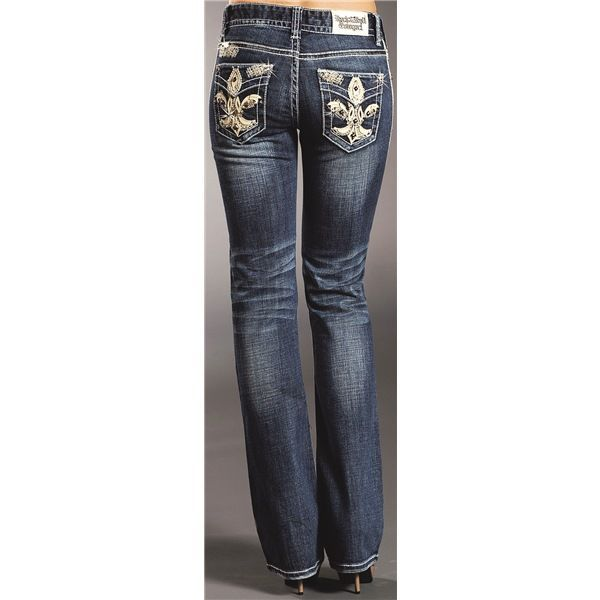 Rock & Roll Cowgirl Fleur-de-Lis Jeans - Bootcut, Mid Rise (For Women) in Medium Wash
