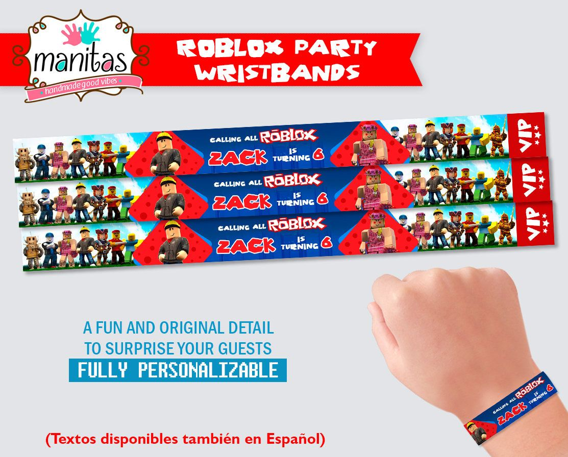Pin By Karen Chapman On Surprise Your Guests With Our Beautiful Party Wristbands Roblox Party Wristbands Party Favors