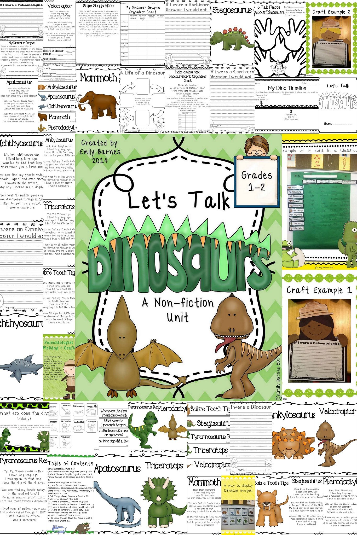 Dinosaur Unit   Worksheets, Fiction and Crafts