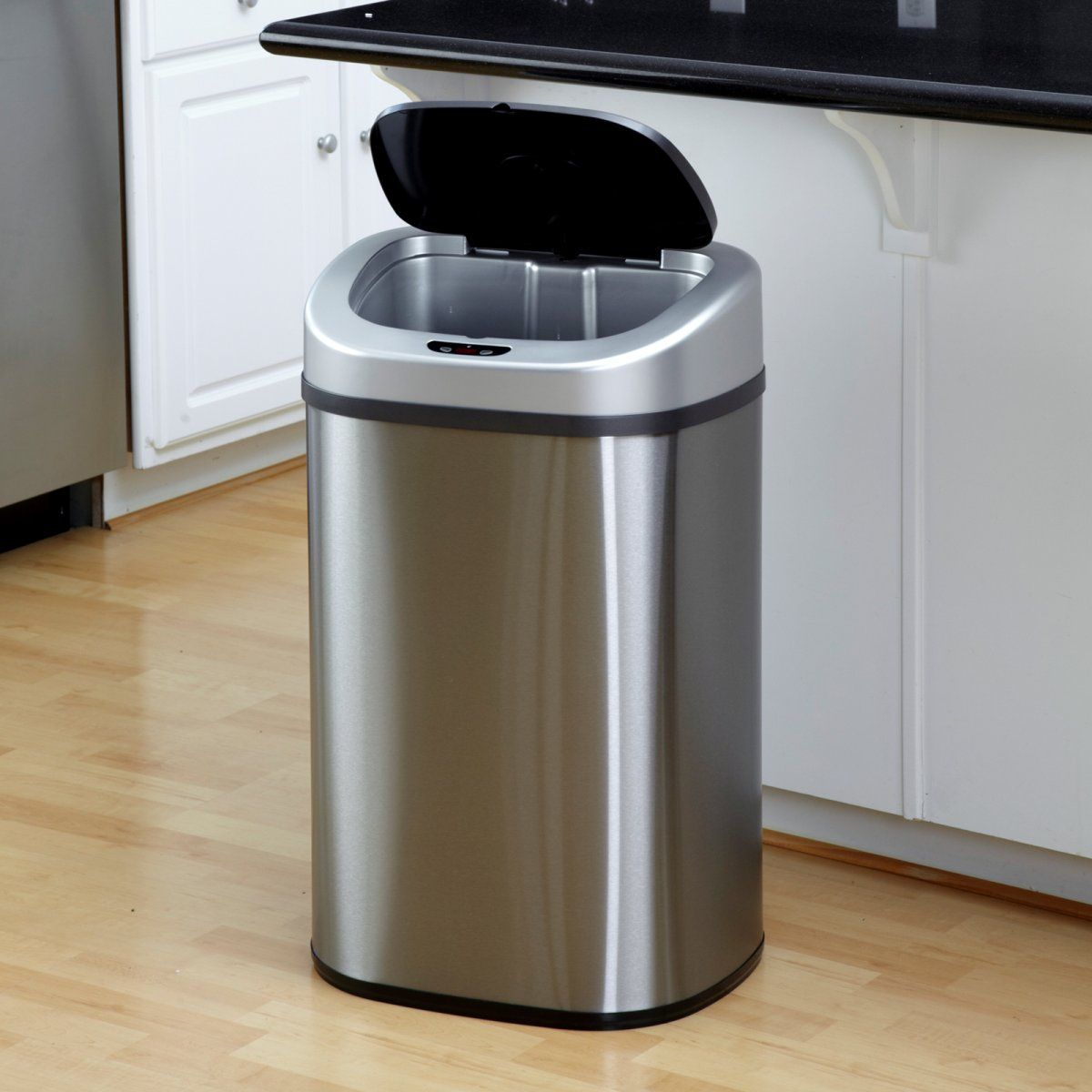 Nine stars dzt 80 4 touchless stainless steel 21 1 gallon trash can kitchen trash cans at all - White kitchen trash cans ...