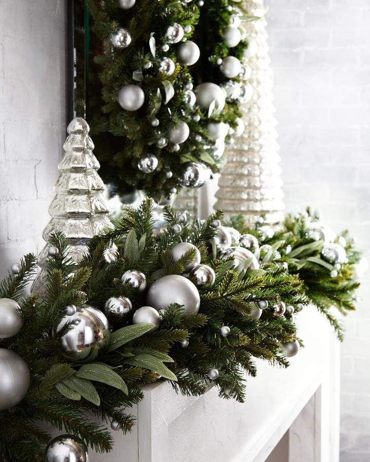 Green And White Christmas Tree: Green Ivy Leaf & Silver Ball Christmas Garland 6