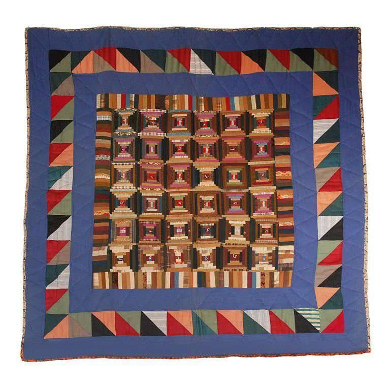 19th Century Pennsylvania Mennonite Wool Log Cabin Quilt