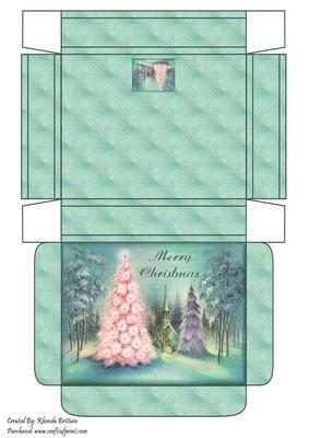 Merry Christmas Winter Scene Gift Box on Craftsuprint designed by Rhonda Brittain - A christmas winter scene gift box - Now available for download!